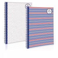 A4 Twinwire Notebook (2 Designs - Spots or Stripes)