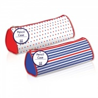Barrel Pencil Case (2 Designs - Spots or Stripes)