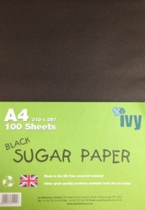 Pack of 100 A4 Black Sugar Paper