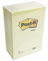 Post-it Yellow Ruled Large Format Notes 102x152mm Pack of 6 660