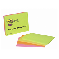 3M Post-it Super Sticky Meeting Note Neon Pk 4 200x149mm 6845-SSP