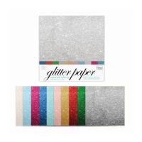 Couture Creations 12x12'' Glitter Paper / Card  10 Sheets Assorted (210gsm)