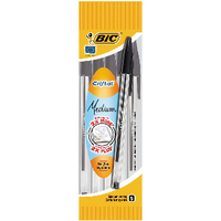 Bic Black Cristal Medium Ballpoint 4-Pen Pouch (Pack of 10) 8308591