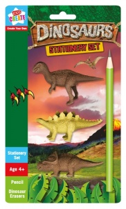 Dinosaur Stationery Set - Pencil + 3 Dinosaur Shaped Erasers!