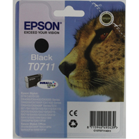 Epson T0711 black inkjet cartridge for use with Stylus D78/DX4000/DX4050/DX5050/DX6000/DX6050/DX7000F printers. (Cheetah) EP32972