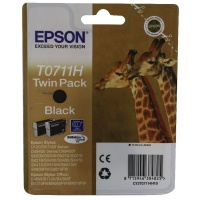 Epson T0711H High Yield Black Inkjet Cartridge Twin Pack. Suitable for Stylus D120, DX7400 - 9400F printers. OEM: C13T07114H10. (Giraffe) EP38482