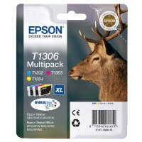 Epson T1306 Three Colour Inkjet Cartridge Extra High Yield 30.3ml CMY. For use in Epson Stylus SX525WD, SX620FW, Stylus Office BX320FW, BX525W and BX625FWD. OEM: C13T13064010. (Stag) EP46461