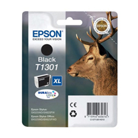 Epson T1301 Inkjet Cartridge Extra High Yield 25.4ml Black. For use in Epson Stylus Office BX525WD, BX625FWD, Stylus SX525WD, SX620FW printers. (Stag) EP46561