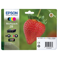 Epson 29 Black/Cyan/Magenta/Yellow Inkjet Cartridge Value Pack (Strawberry) C13T29864010 / T2986 EP60233