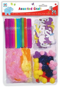 Act Kids Create Assorted Craft Pack (Pom Poms, Feathers, Wooden Sticks & Sticky Foam Letters)