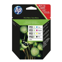 HP 950XL Black Ink Cartridge + 951XL Cyan, Magenta, Yellow Ink Cartridges (Combo Pack) HPC2P43AE