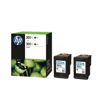 HP301XL Black Ink Cartridge Twin Pack Black HPD8J45AE