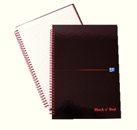 Black n Red Wirebound Hardback Notebook A4 Feint B67004
