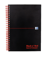 Black n Red Wirebound Premium Card Notebook A5 100 Pages Ruled Feint D66369