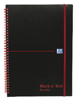 Black n Red Wirebound Elasticated Notebook A5 Polypropylene Feint Recycled Pk 5 846350963