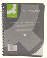 Q-Connect Spiral Pad Executive A5+ 80 Leaf Ruled Feint and Margin