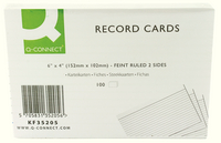 Q-Connect Record Card 6x4 Inches Ruled Feint White (Pk 100) KF35205