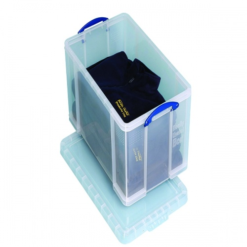 Really Useful 84L Box With Lid Clear