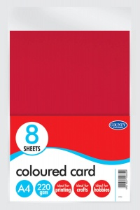8 A4 Coloured Card 220gsm