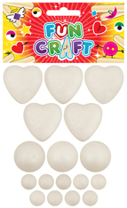 Fun Craft Kit - Assorted Polystyrene Foam Shapes (Balls & Hearts)
