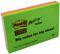 3M Post-it Super Sticky Meeting Note Neon Pk 4 149x98.4mm 6445-4SS