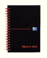Black n Red Wirebound Hardback Notebook A6 140 Pages Ruled Feint Perforated 100080448