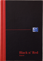 Black n Red Casebound Manuscript Book 192 Pages A5 Ruled Feint 100080459