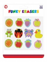Act Kids Create Assorted Funky Erasers  - Set of 12