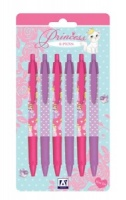 6 Purple & Pink 'Clicky' Princess Pens (Blue Ink)