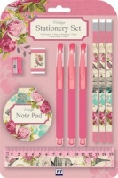 Vintage (Pink/Beige) 10 Piece Stationery Set