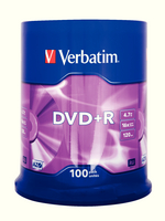 Verbatim DVD+R 16X Non-Printable Spindle Pk 100 43551