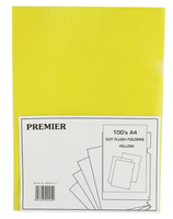 Cut Flush Folder Yellow A4 Pk 100 WX01487