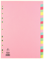 A4 Manilla Divider 20-Part Pink With Multi-Colour Tabs WX01517